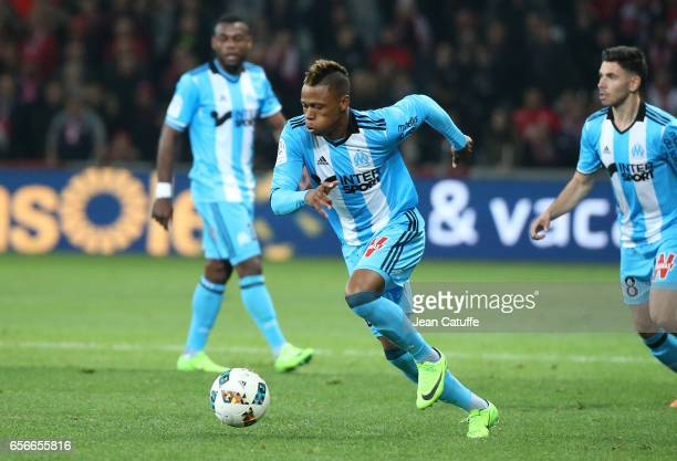 Clinton Njie of OM in action during the French Ligue 1 match between Lille OSC and Olympique de Marseille at Stade PierreMauroy on March 17 2017 in...