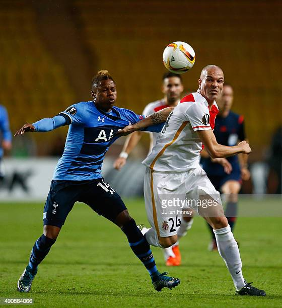 Clinton N'Jie of Tottenham Hotspur and Andrea Raggi of Monaco battle for the ball during the UEFA Europa League group J match between AS Monaco FC...