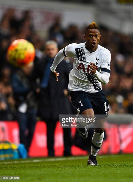 Clinton N'Jie of Tottenham Hotspur chases the ball during the Barclays Premier League match between Tottenham Hotspur and Chelsea at White Hart Lane...