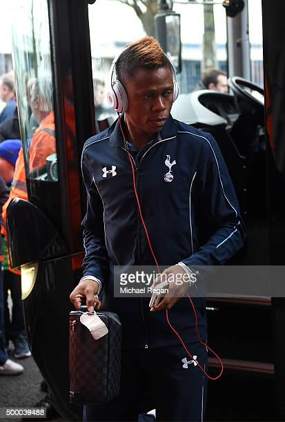 Clinton N'Jie of Tottenham Hotspur is seen on arrival at the stadium prior to the Barclays Premier League match between West Bromwich Albion and...