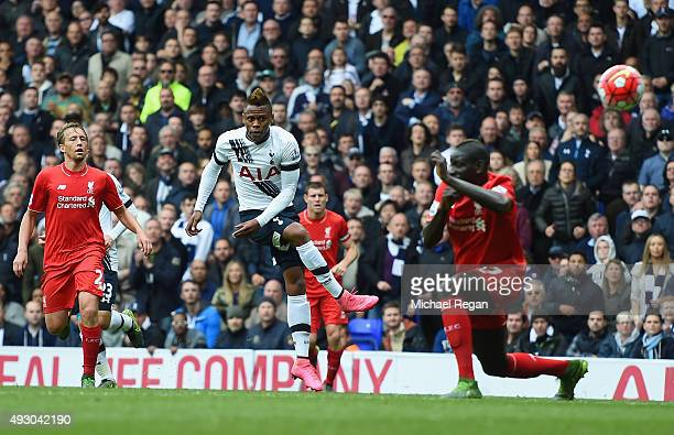 Clinton N'Jie of Tottenham Hotspur shoots at goal during the Barclays Premier League match between Tottenham Hotspur and Liverpool at White Hart Lane...