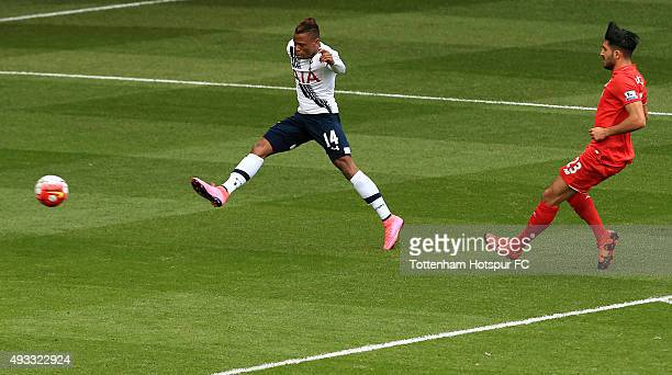 Clinton Njie of Tottenham Hotspur shoots under pressure from Emre Can of Liverpool during the Barclays Premier League match between Tottenham Hotspur...