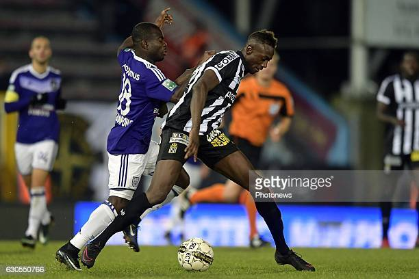 Clinton Pedro Lourenco Mukoni Mata defender of Sporting Charleroi battles for the ball with Frank Acheampong forward of RSC Anderlecht during the...