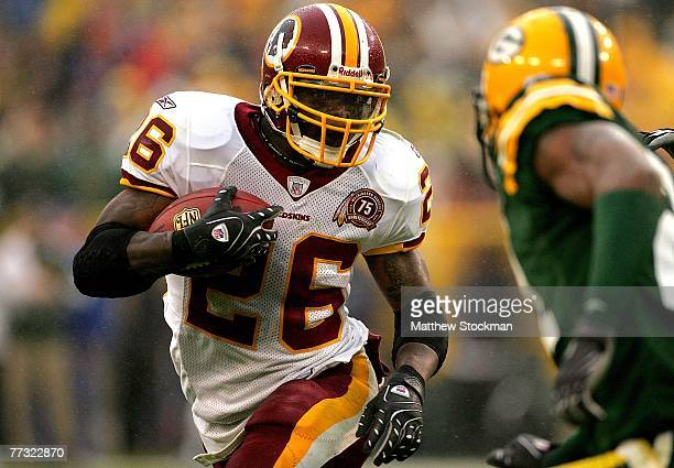 Clinton Portis of the Washington Redskins carries the ball against against the Green Bay Packers October 14 2007 at Lambeau Field in Green Bay...