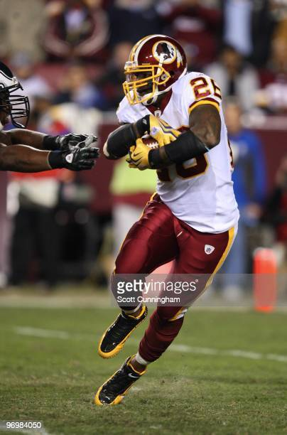 Clinton Portis of the Washington Redskins carries the ball against the Philadelphia Eagles at Fedex Field on October 26 2009 in Landover Maryland
