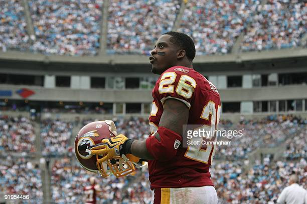 Clinton Portis of the Washington Redskins gets set for play against the Carolina Panthers at Bank of America Stadium on October 11 2009 in Charlotte...