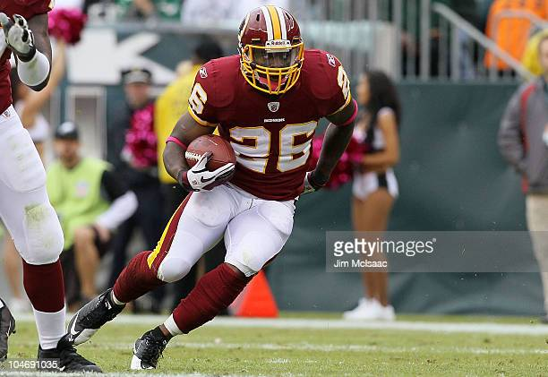 Clinton Portis of the Washington Redskins runs the ball against the Philadelphia Eagles on October 3 2010 at Lincoln Financial Field in Philadelphia...