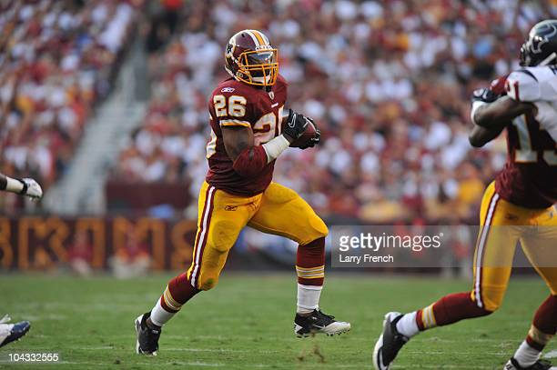 Clinton Portis of the Washington Redskins runs the ball during the game against the Houston Texans at FedExField on September 19 2010 in Landover...