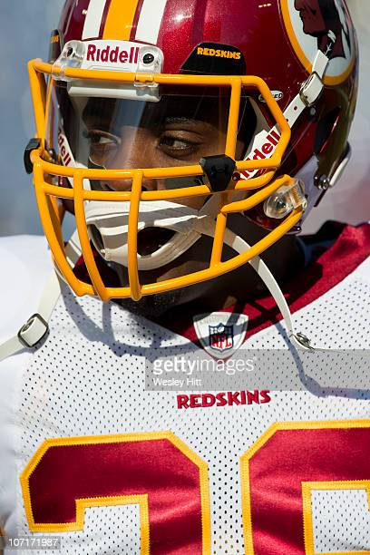 Clinton Portis of the Washington Redskins warms up before a game against the Tennessee Titans at LP Field on November 21 2010 in Nashville Tennessee...