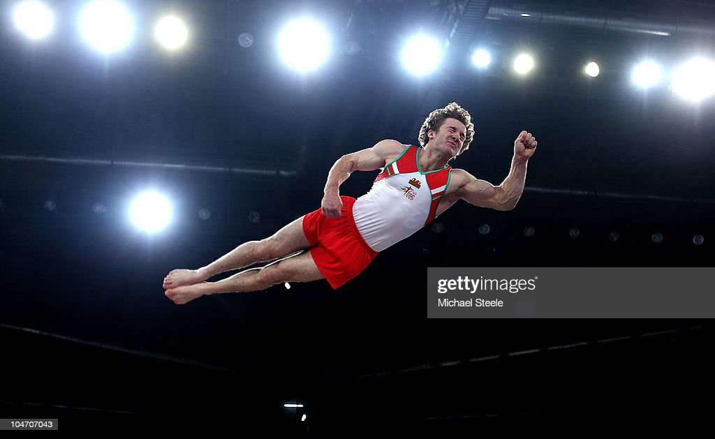 Clinton Purnell of Wales in action on the vault as he competes in the Men's Artistic Gymnastics Qualification at IG Sports Complex during day one of the Delhi 2010 Commonwealth Games on October 4, 2010 in Delhi, India. Wales led the qualifiers in first place.