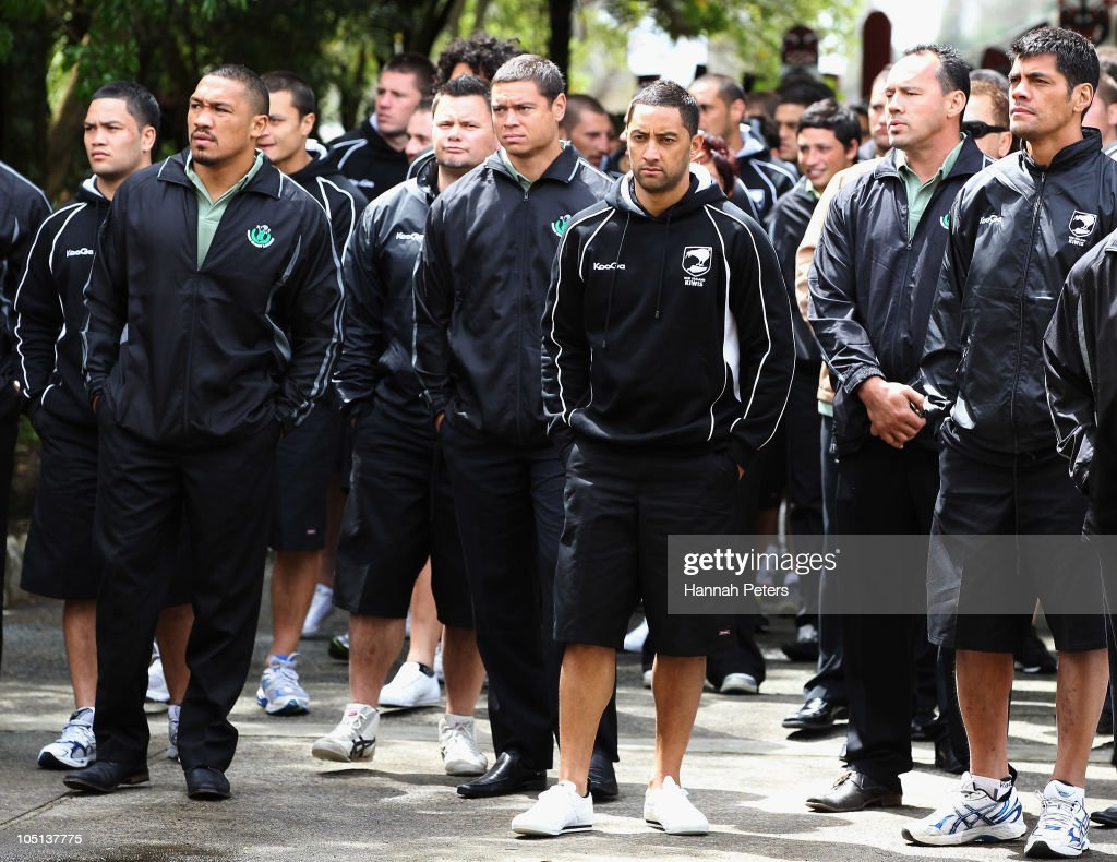 Clinton Toopi, Timana Tahu and Benji Marshall are welcomed onto the Turangawaewae Marae on October 11, 2010 in Ngaruawahia, New Zealand.