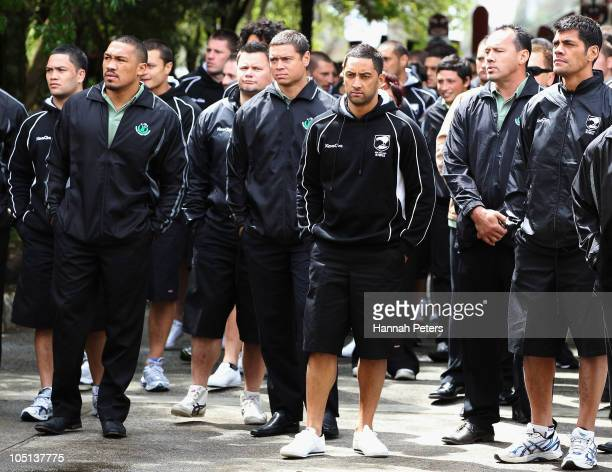 Clinton Toopi Timana Tahu and Benji Marshall are welcomed onto the Turangawaewae Marae on October 11 2010 in Ngaruawahia New Zealand