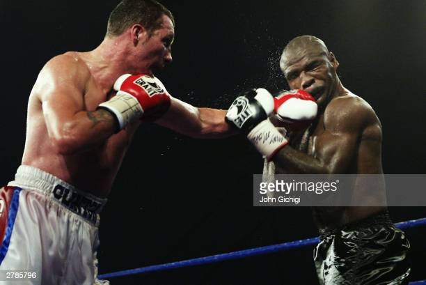 Clinton Woods of Great Britain in action against Glencoffe Johnson of Jamaica during the IBF Light Heavyweight title fight held at the Hillsborough...
