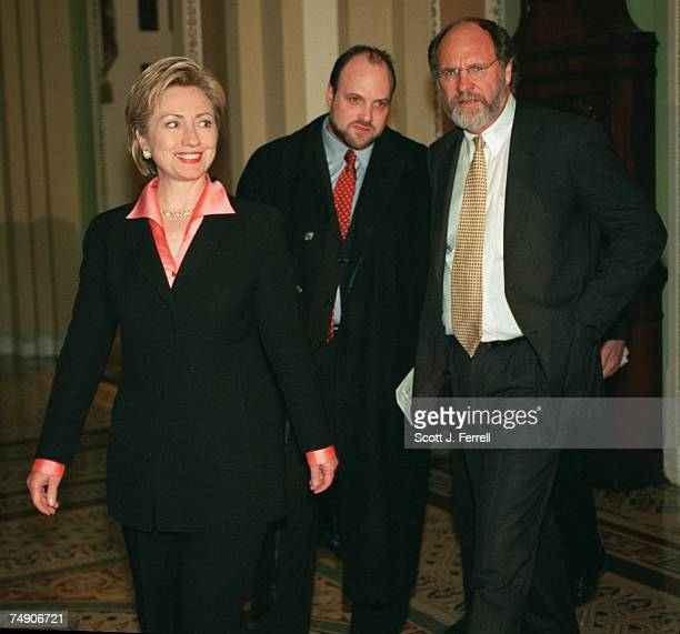 CLINTONSenatorselect Hillary Rodham Clinton DNY and Jon Corzine DNJ approach the microphones to speak with the media in the Ohio Clock Corridor after...