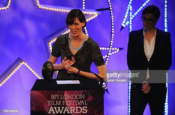 Clio Barnard speaks as she receives the Best British Newcomer Award during the ceremony for the 54th BFI London Film Festival Awards at LSO St Lukes...