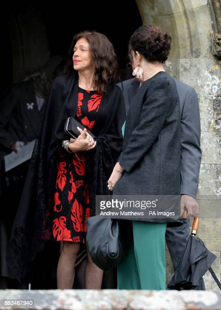 Clio Goldsmith former wife of Mark Shand and mother to their daughter Ayesha leaves the Holy Trinity Church in Stourpaine Dorset after the funeral of...