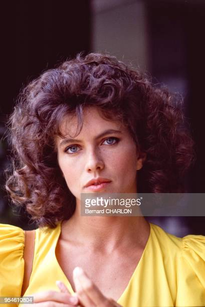 Clio Goldsmith lors du tournage du film 'L'Etincelle' le 8 septembre 1983 France
