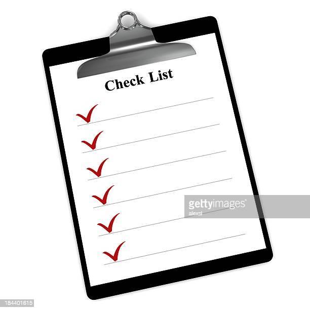 Lista de verificação para área de transferência
