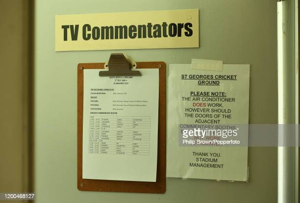 A clipboard on a door shows the commentary roster during Day Four of the Third Test between England and South Africa on January 19 2020 in Port...