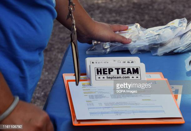 A clipboard with patient consent forms is seen at a hepatitis A vaccination event sponsored by the Orange County Florida Health Department in...