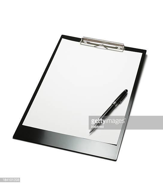 Klemmbrett und Stift