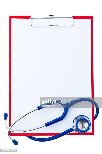 clipboard with sheet of paper and stethoscope