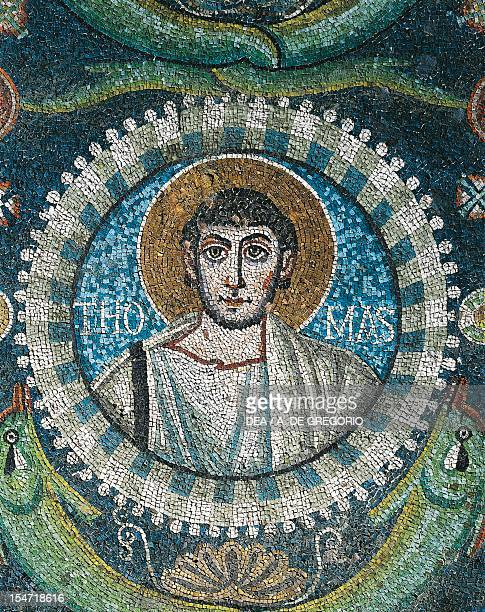 Clipeus with St Thomas's image mosaic intrados of the arch at the entrance to the presbytery Basilica of San Vitale Ravenna EmiliaRomagna Italy 6th...