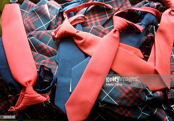 Clipon ties for school uniforms on sale at Craft Clothes August 15 2001 in New York City Students around the country are preparing to head back to...
