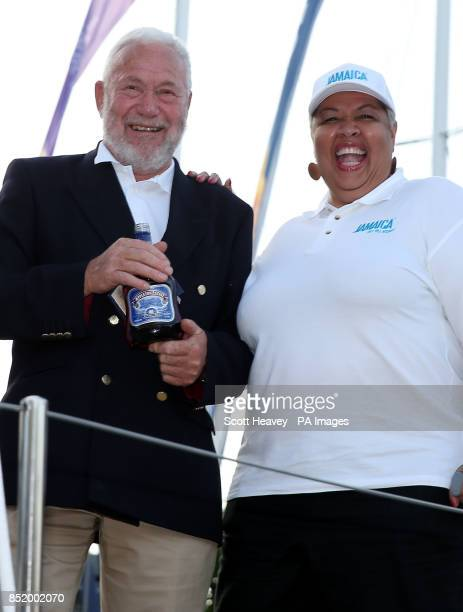 Clipper race founder Sir Robin KnoxJohnston and the Jamaican High Commisioner Her Excellency Mrs Aloun NdombetAssamba during the naming ceremony in...
