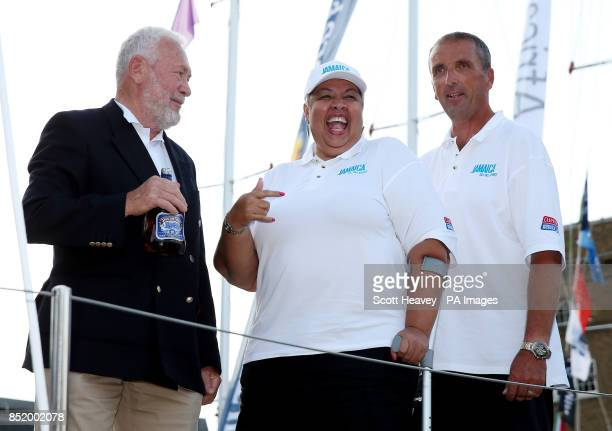 Clipper race founder Sir Robin KnoxJohnston and the Jamaican High Commisioner Her Excellency Mrs Aloun NdombetAssamba with Jamaican Skipper Pete...