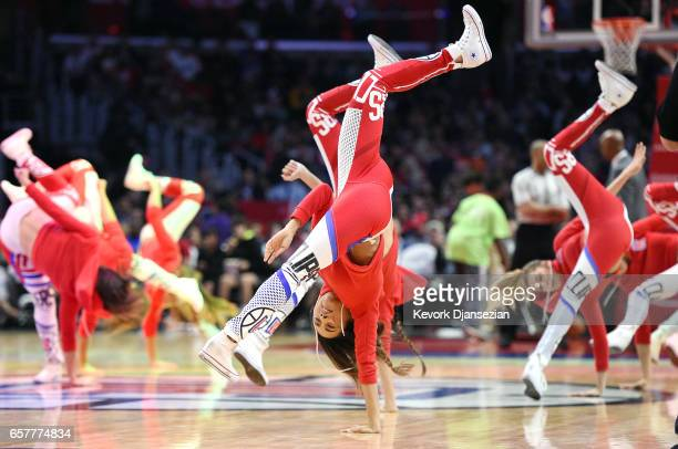 Clipper Spirit dancers perform during the second half of the basketball game between Utah Jazz and Los Angeles Clippers at Staples Center March 25 in...