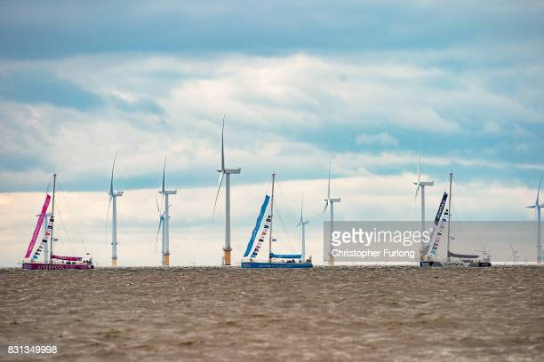 Clipper yacht Liverpool 2018 leads the procession past Burbo Bank as the yachts of the The Clipper Round the World Yacht Race arrive in Liverpool Bay...