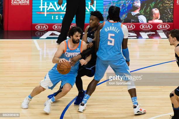 Clippers guard Milos Teodosic drives the ball to the middle of the court during the game between the Orlando Magic and the LA Clippers on March 10 at...
