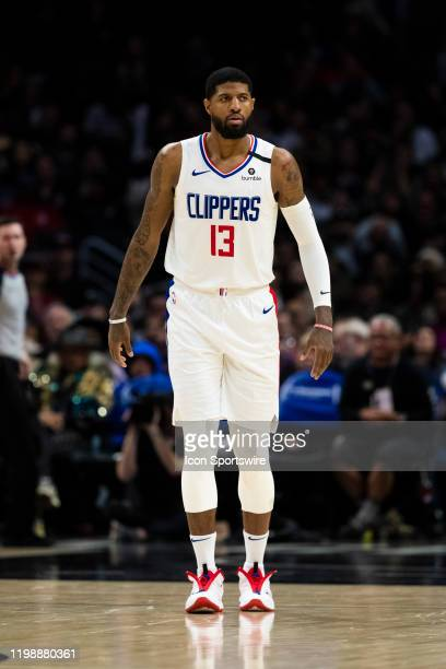 Clippers guard Paul George during the NBA regular season basketball game against the San Antonio Spurs on Monday Feb 3 2020 at the Staples Center in...