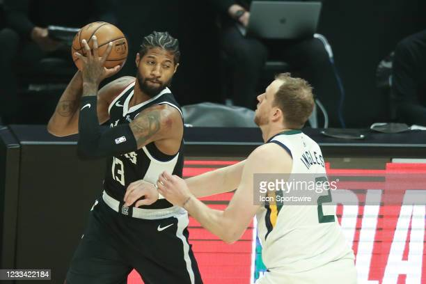 Clippers guard Paul George guarded by Utah Jazz guard Joe Ingles during game 3 of the second round of the NBA Western Conference playoffs between the...