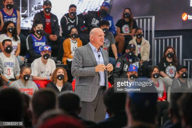 Clippers owner Steve Ballmer addresses the crowd during the Los Angeles Clippers Ground breaking Ceremony on September 17 at the Intuit Dome site in...
