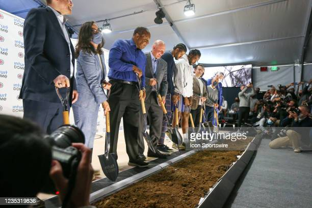 Clippers owner Steve Ballmer and VIPs shovel the first scoops of dirt during the Los Angeles Clippers Ground breaking Ceremony on September 17 at the...