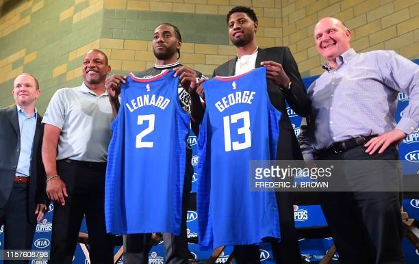 Clippers owner Steve Ballmer US basketball players Paul George and Kawhi Leonard Clippers coach Doc Rivers and Clippers President of Basketball...