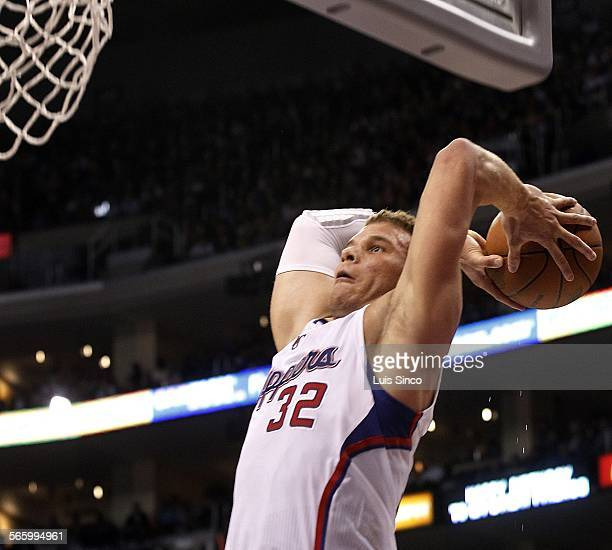 Clippers power forward Blake Griffin goes up for a slam dunk against the Thunder in the fourth quarter Monday Jan 30 at Staples Center in Los Angeles