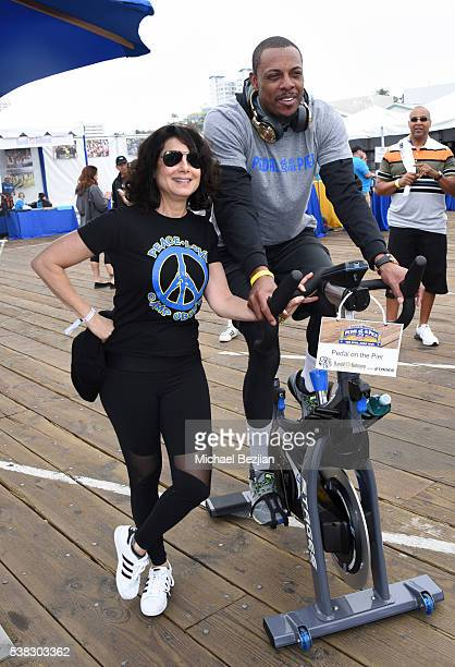 A Clippers Small Forward Paul Pierce and Joyce Hyser Robinson at the 6th Annual Pedal On The Pier Fundraiser at Santa Monica Pier on June 5 2016 in...