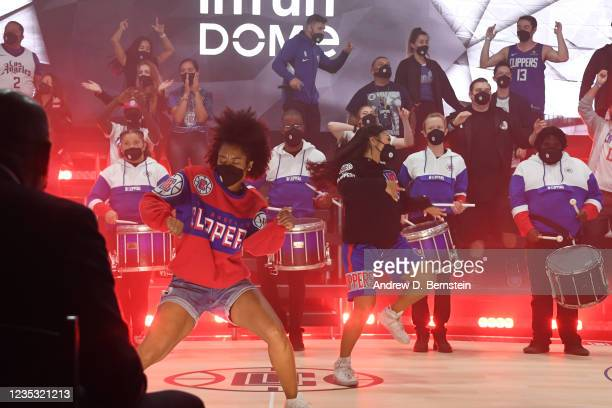 Clippers Spirit Dance Team and Clippers Drumline perform during the LA Clippers ground breaking on Intuit Dome on September 17, 2021 in Inglewood,...
