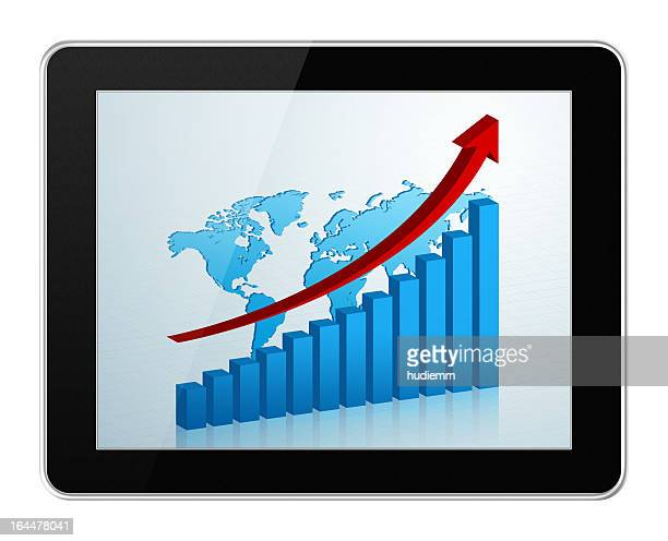 [Clipping path!] Business growth chart in digital tablet PC isolated
