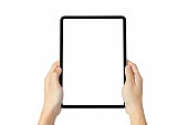 Clipping path, hand holding digital tablet blank screen on isolated. Take your screen to put on advertising.