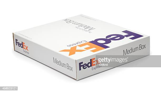 clipping path-fedex box - federal express stock pictures, royalty-free photos & images