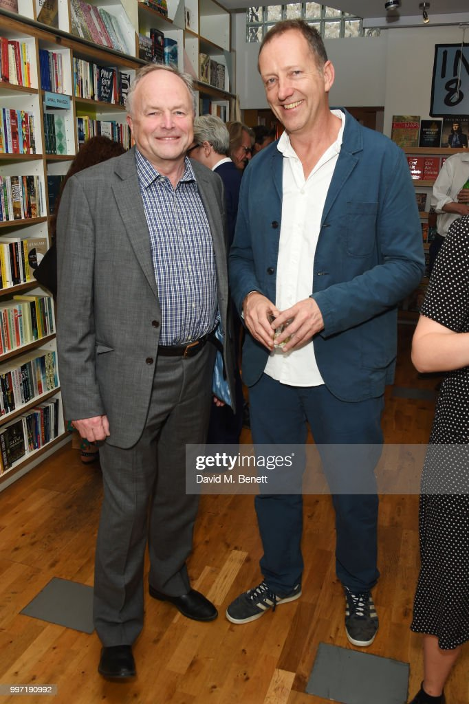 Clive Anderson (L) and Tom Baldwin attend the launch of new book 'Ctrl Alt Delete' by Tom Baldwin at Ink 84 on July 12, 2018 in London, England.