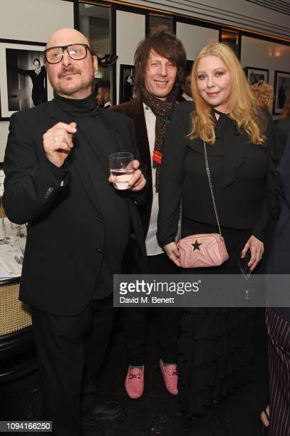 Clive Arrowsmith, Jim Wallerstein and Bebe Buell attend the launch of John Swannell's photography exhibition at Le Caprice on February 5, 2019 in...