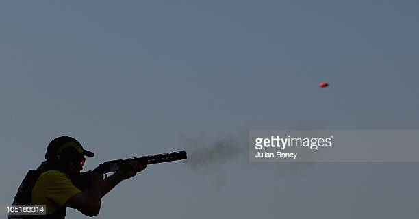 Clive Barton of Australia in action in the pairs skeet shooting at Dr Karni Singh Shooting Range during day eight of the Delhi 2010 Commonwealth...