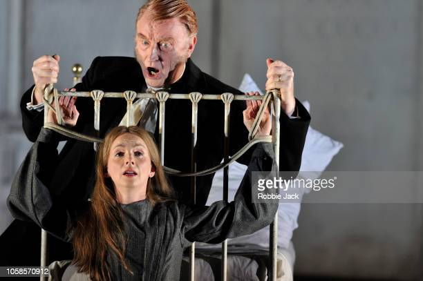 Clive Bayley as Raimondo Bidebent and Sarah Tynan as Lucia in English National Opera's production of Gaetano Donizetti's Lucia di Lammermoor directed...