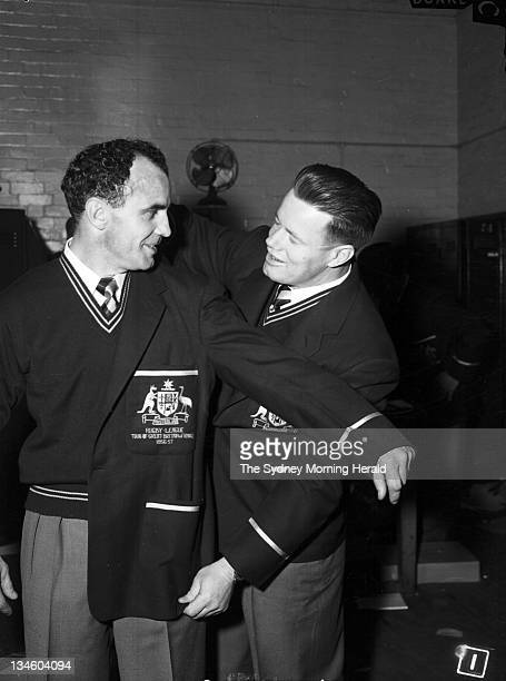 Clive Churchill and Ken Holman receive the official uniform of the Australian Rugby League team before its tour of the UK Picture taken at the Sydney...