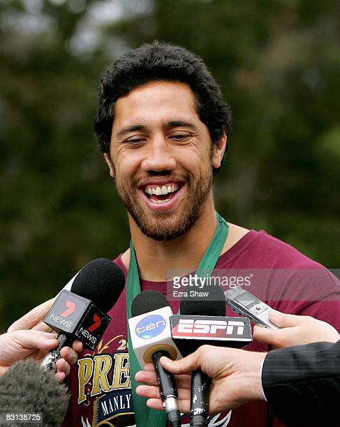 Clive Churchill medalist Brent Kite of the Sea Eagles speaks to the media during the Manly Warringah Sea Eagles NRL victory press conference at the...
